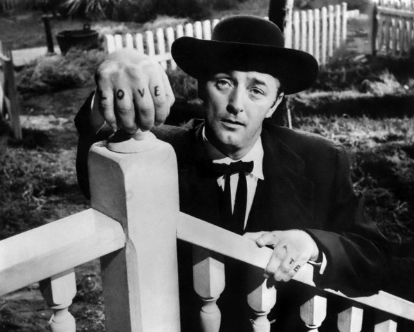 The Night of the Hunter Robert Mitchum in The Night of the Hunter (1955) directed and cowritten by Charles Laughton