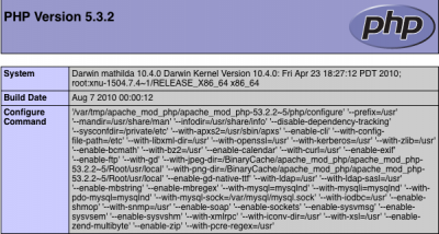 phpinfo() Screenshot from php 5.3.2
